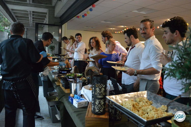 hungry guests line up for choice of 3 pastas straight from the chef at our chef-run pasta station