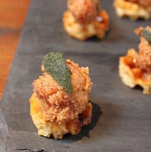 Mini Chicken n Waffles on Tray
