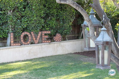 A beautiful garden setting where love is in the air...and in lights!
