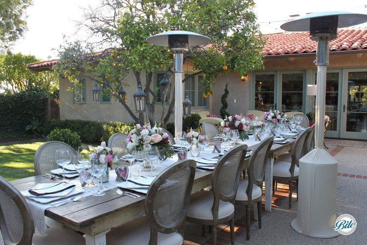 A table set for a dinner in the garden. Heat lamps available in case of a crisp evening.
