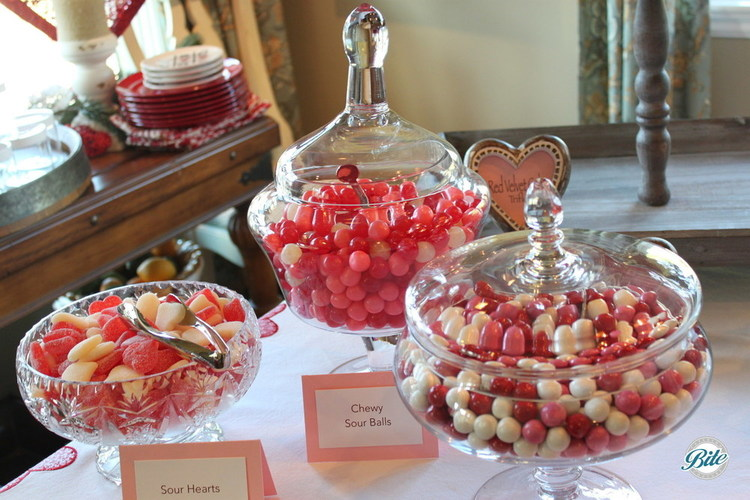 Sweet candy in Valentine's red. Sour hearts, chewy sour balls, and more.