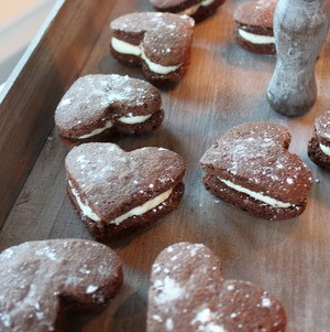 Heart-shaped whoopie pies