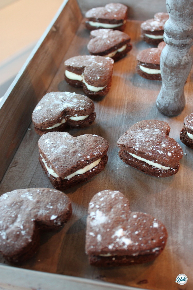 Chocolate whoopie pies cut into a heart shape