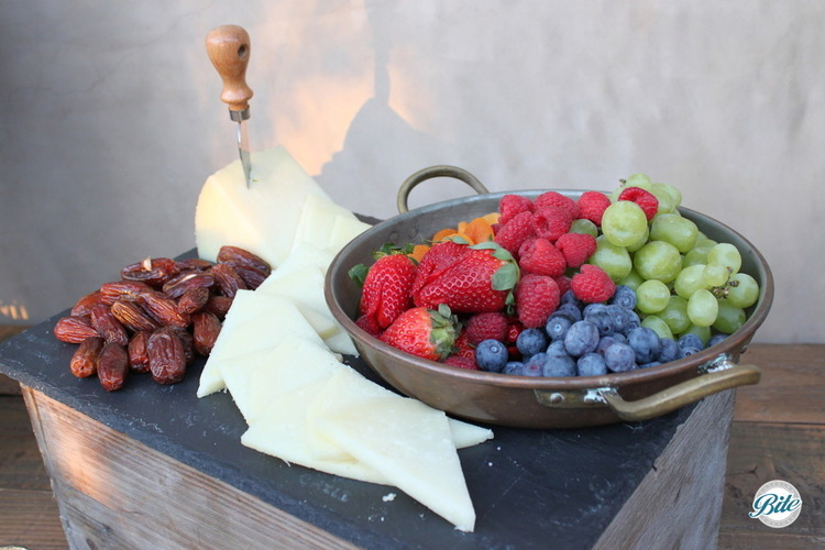 Cheese with fresh fruit and nuts
