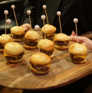 Mini Cheeseburgers with Baseball Picks
