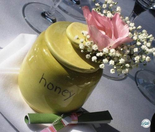 Honey jar placesetting for baby shower