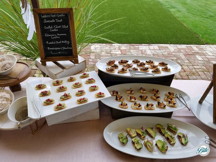 Mini toasts and crostini. Avocado toast, grilled flank steak crostini, edamame hummus crostini, roasted beet medley crostini