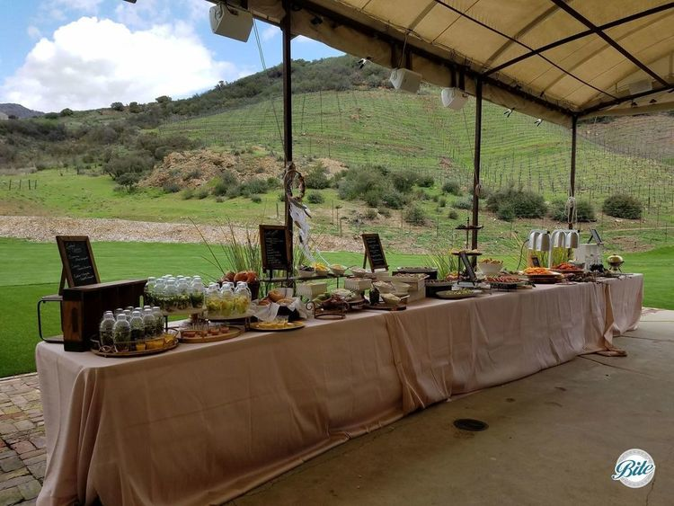 A buffet setup outdoors at Triunfo Creek Vineyard. A table of delicious food combines with a beautiful day!