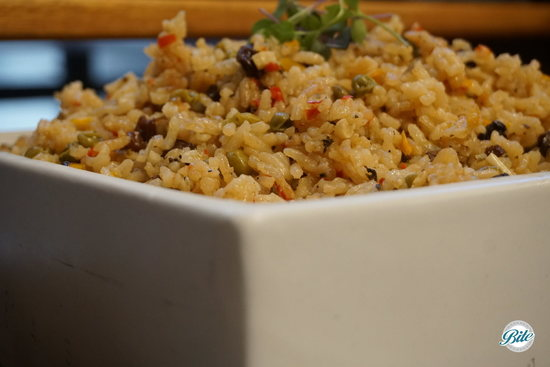 Brazilian Rice in Square Bowl