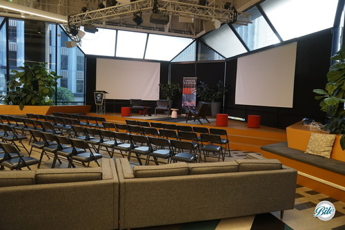 Main stage offers an open modern presentation space