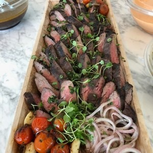 Marinated Flank Steak in Wooden Trays