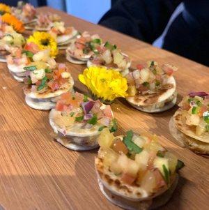Mini Vegan Quesadillas on Wooden Tray