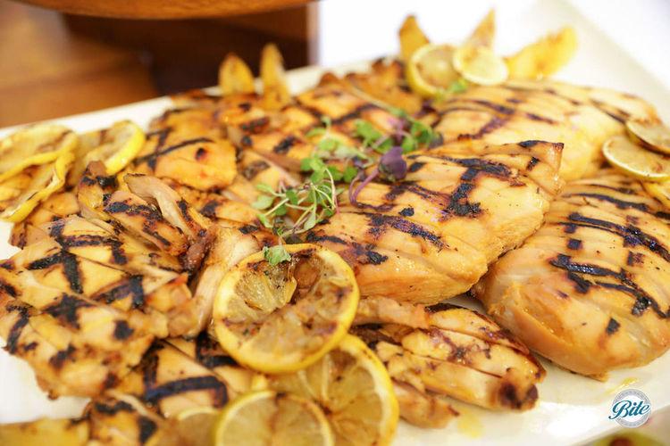Platter of ginger glazed mandarin chicken.  Grilled with lemon and lime.