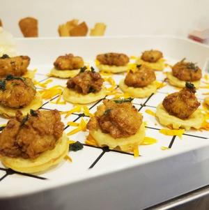 Mini Chicken n' Waffles on White Tray
