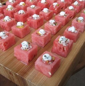 Watermelon Cubes with Gazpacho