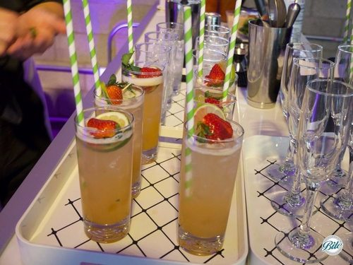 Strawberry, lime, cilantro and soda. With Vodka or mocktail version. Garnished with fresh strawberry.