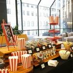 Popcorn Bar setup by open lounge area