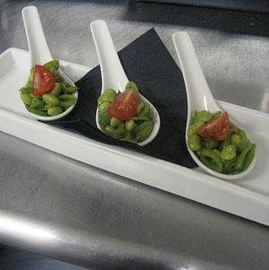 Edamame Salad on tasting Spoons