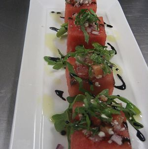 Watermelon cube salad hors d'oeuvre