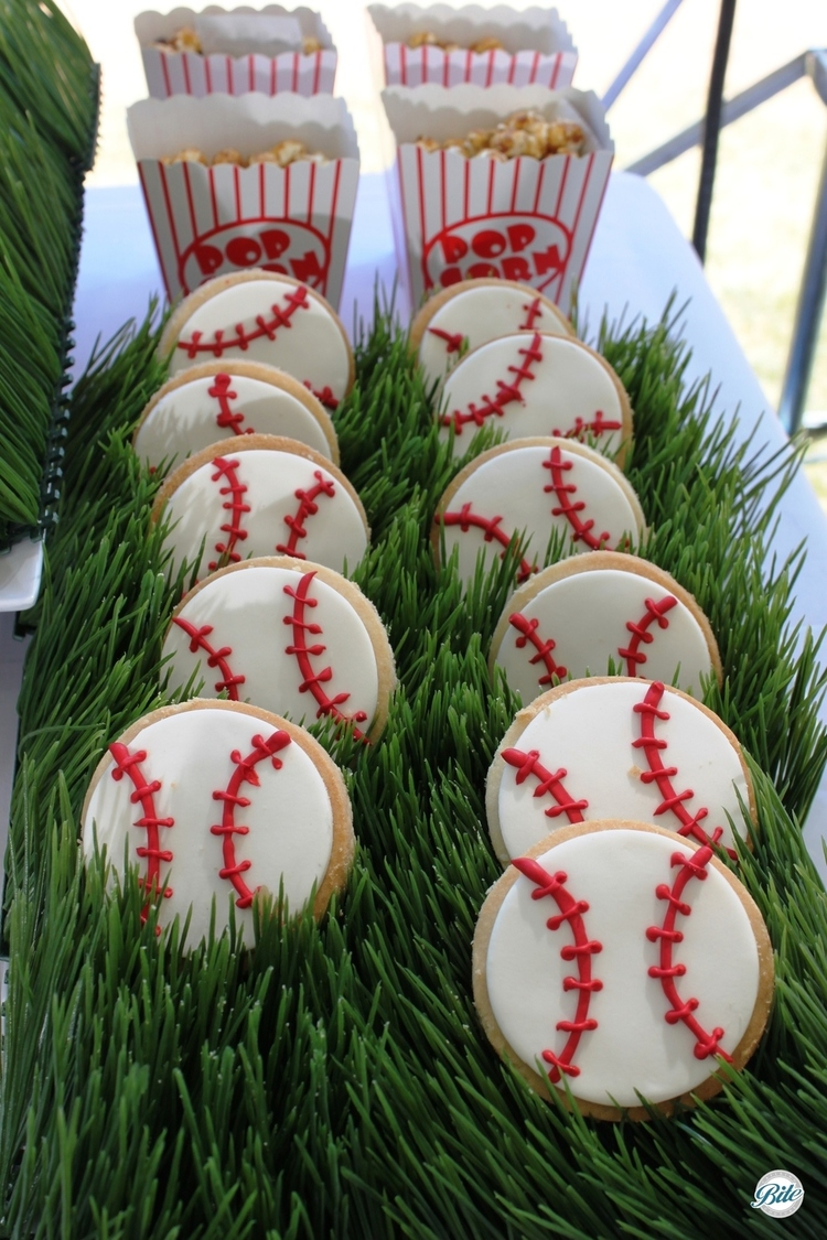 Cookies decorated as baseballs