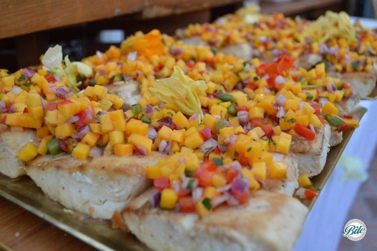 Our seasonal catch glazed with an agave sauce and topped with coconut salsa verde and mango salsa