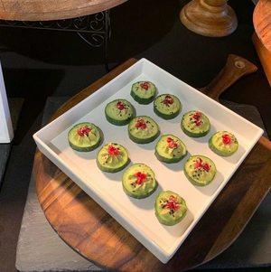 Edamame Hummus Cucumber Canape on White Tray