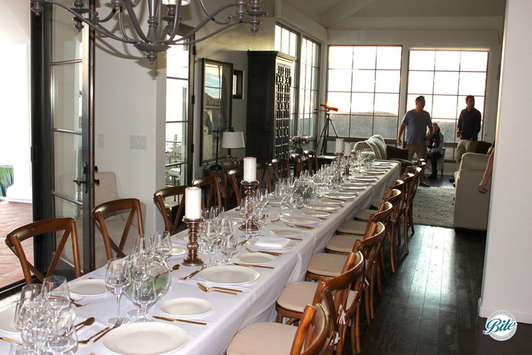 Long table set for a plated dinner