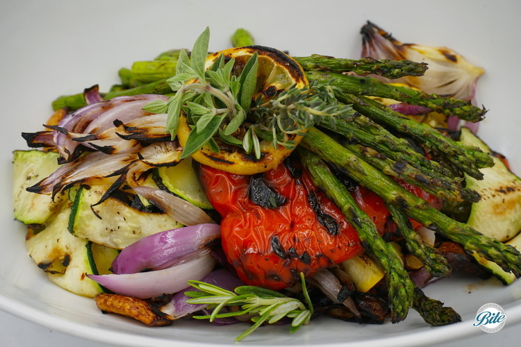 Vegetables roasted and grilled. Drizzled with lemon.