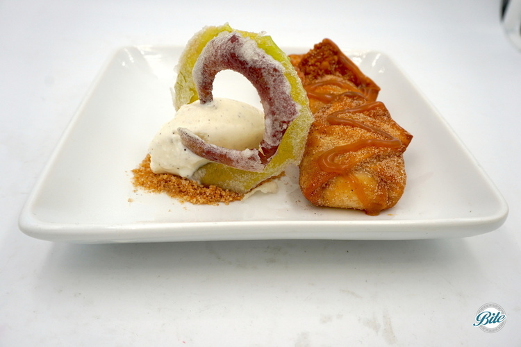 Apple wonton with caramel sauce. Apple crisp with vanilla ice cream.