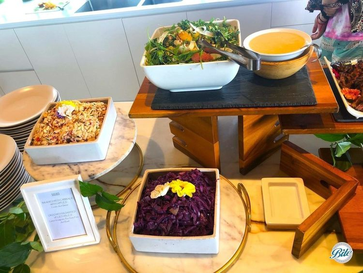 Citrus salad, braised red cabbage with apples, orzo with roasted vegetables