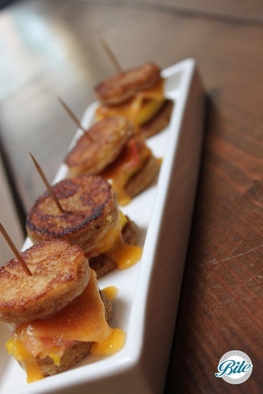French toast brioche egg frittata, tillamook cheddar cheese, and crispy bacon
