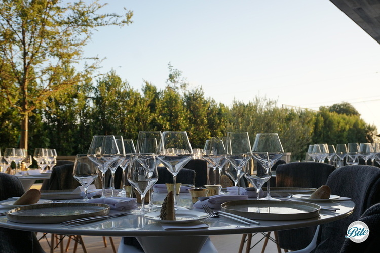 A table overlooking a luxurious backyard. Setup with wine glasses