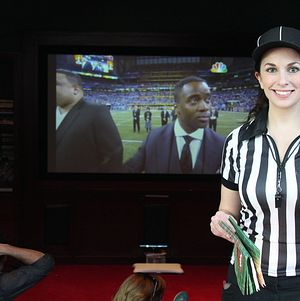 Super Bowl Party with referee costumed staff