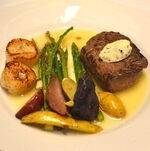 Steak and Scallops Plated with Vegetables