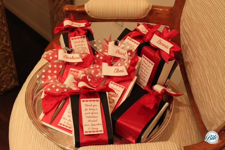 Party favors in Valentine's colors