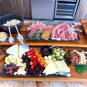 Cheese and Charcuterie laid out on Grazing Table