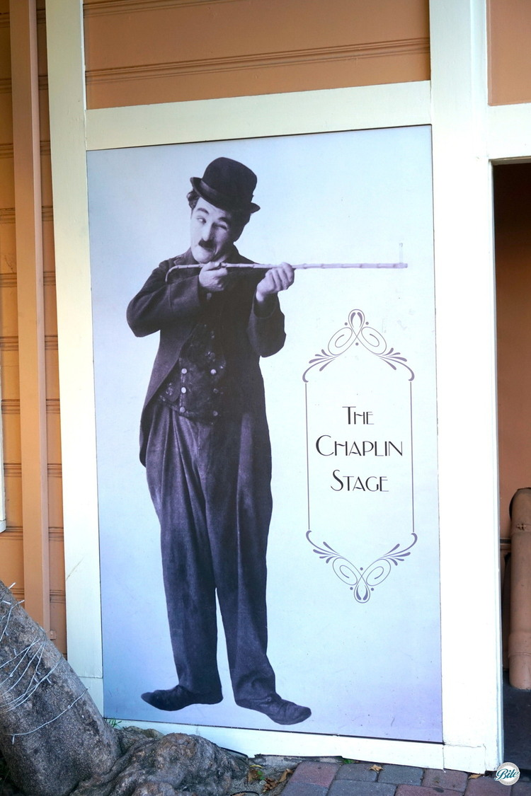 Photo of Charlie Chaplin pointing to the Chaplin stage at Jim Hensons Studio