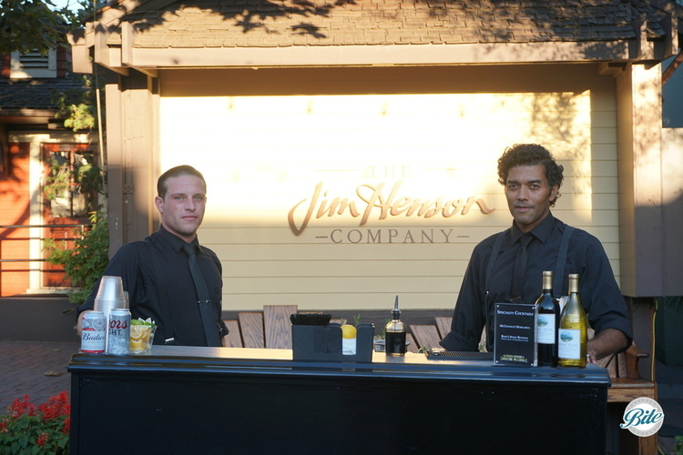 Bar setup in front of the Jim Henson company sign