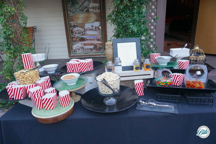 Setup of popcorn bar in front of Chaplin Studios
