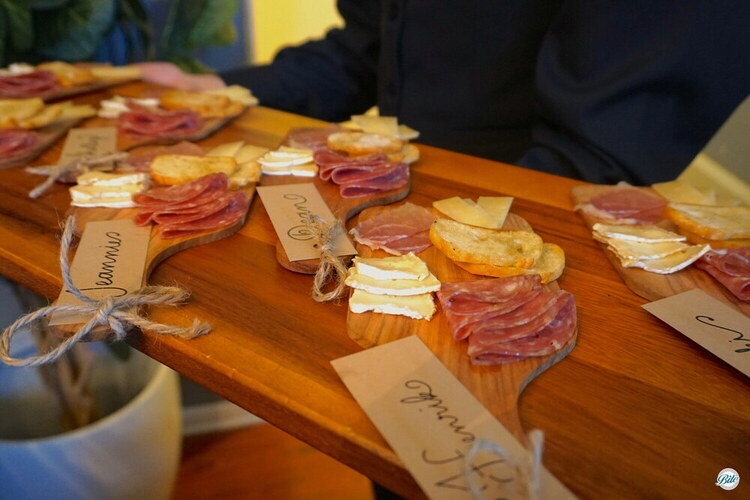 Individual cheese and charcuterie boards