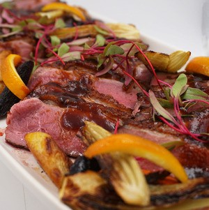 Seared Duck with Grilled Vegetables