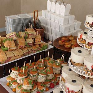 Brunch Buffet - Sandwiches, Boxed Orzo Salad, Mini Egg Souffles, and Granola Parfait