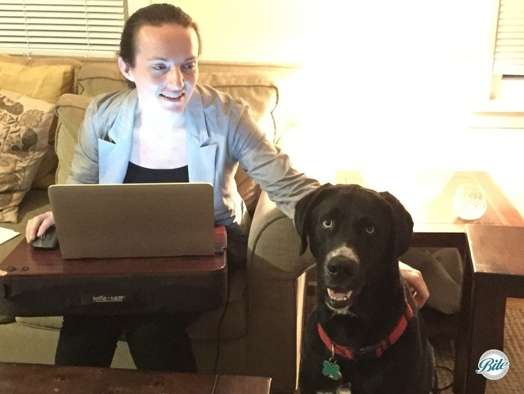 Professional working from home with lapdesk and dog