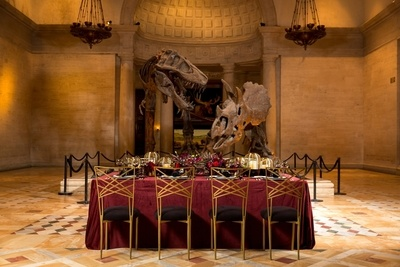 A dramatic battle between dinosaurs serves as the backdrop for a dinner