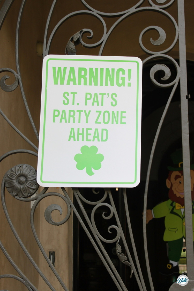 A St Patricks day party welcome sign