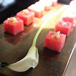 Watermelon Cubes Passed on Wood Tray