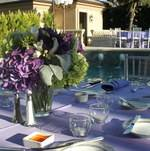 Purple Table Setting for Backyard Birthday Party