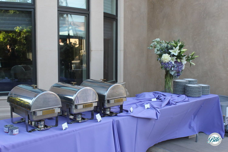 Lavendar buffet set up
