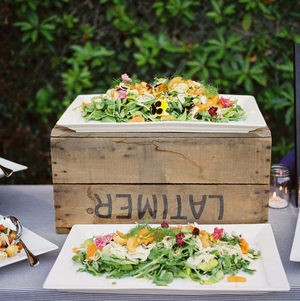 Market salad display on wedding buffet