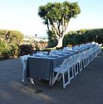 Backyard Wedding Reception with Plated Meal in Malibu